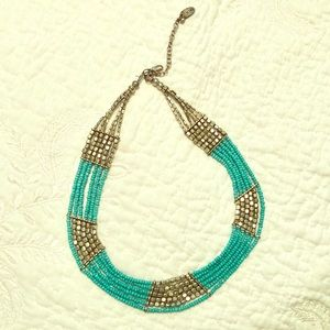 Silver and turquoise beaded statement necklace